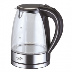 Virdulys Kettle Adler AD 1225 Standard kettle, Glass, Glass/Black, 2000 W